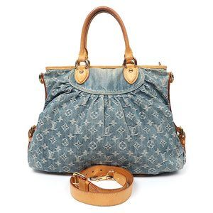 authentic LOUIS VUITTON Denim Neo Cabby GM Bag